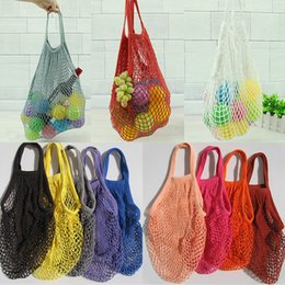 hand bag dhl Australia - Fashion String Shopping Fruit Vegetables Grocery Bag Shopper Tote Mesh Net Woven Cotton Shoulder Bag Hand Reusable Grocery Bags DHL WX9-365