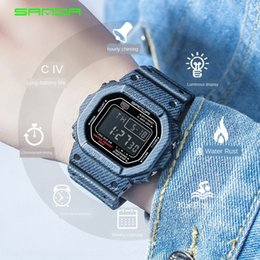 i electronic NZ - Sanda male and female students electronic Electronic I new denim sports waterproof watch couple watch