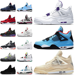 Wholesale shoes carnival resale online - 4 s mens trainers basketball shoes court purple travis scotts SAIL JUMPMAN Black Cat Red Metallic Carnival Retro sports sneakers