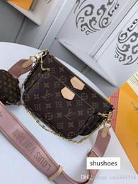 venda por atacado # 4273 Marca L MULTI POCHETTE ACESSÓRIOS Design V Bolsas de Ombro Mulheres 3pcs Sacos com bolsa carteira 44813 44823 44840