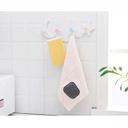 key holders for wall UK - Creative Star Moon Cloud Shape Hooks Wall Mounted Key Holder Nail Free 4 Hooks For Foyer Bathroom Kitchen