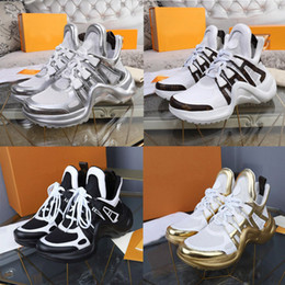 Wholesale deep animals for sale – custom 2020 New Fashion Casual Shoes White Blue Color block Archlight Genuine Leather sneaker Mesh Black breathable Bow platform shoe Stylist shoe