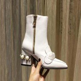 paint half shoes NZ - Original Martin boots 100% cowhide women Shoes Leather High-heeled women boots metal buckles Fashion short boots 35-42 Z99