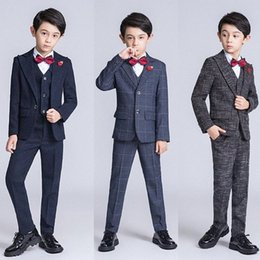 kids blazers UK - YuanLu 6PCS Kids Suit Blazer Formal Boys Suits For Wedding Party Costume British Style Children Clothes Autumn 56no#