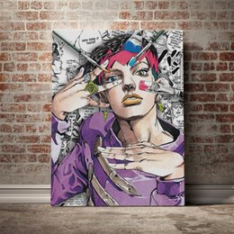 anime picture UK - Home Decor Jojo S Bizarre Poster Wall Art Rohan Kishibe Canvas Prints Japan Anime Painting Picture For Living Room Modular Frame