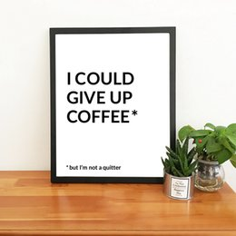 framed paint coffee Canada - Funny Coffee Quotes Prints Coffee Bar Wall Art Poster Decor Modern Minimalist Black White Art Canvas Painting Office Wall Decor
