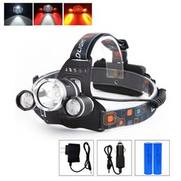 red headlamp Australia - Dropshipping 3 LED 4 modes LED Headlamp Red Light Outdoor Headlight Waterproof Head Lamp Torch Lantern For camping 18650 Battery