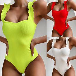 Wholesale sexy swim wear one piece online – One Piece Swimsuit Women Sexy Swimwear Solid Ruffle Bathing Suit Ladies Beach Swimming Wear Summer One Piece Bikini Female Bodysuit