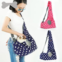 dog print bags NZ - Spring Summer Canvas Dog Carrier Dotted Prints Pet Sling Bag Portable Puppy Cat Bags Blure Red Color Outdoor 39dl E1