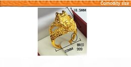 gold 999 ring Canada - Vintage Lion Head Chinese dragon Rings REAL STAMP 999 Yellow Gold Men's Animal Sz at will