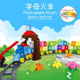 alphabets blocks Canada - 71pcs Children early educational toys DIY big particle cognitive assembly building block alphabet train kids funny creative gift 01