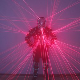 led stage costumes Canada - 2020 New Laser Robot Costumes,Red Laser Fiber Optic 2 in 1 Robot Suit For LED Luminous Clothing Stage Show