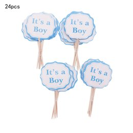 baby shower decorations for girls UK - 24 12pcs Baby Girls Boys Cake Topper Party Pink Blue cake decorating tools baby shower Birthday Party Decorations For Kids