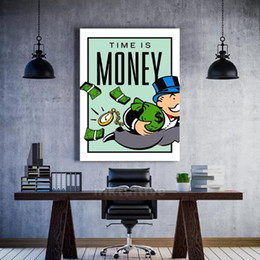Wall Art Canvas Graffiti Home Decor Painting Alec Monopoly HD Print Modern Time Is Money Posters Modular Pictures Living Room on Sale
