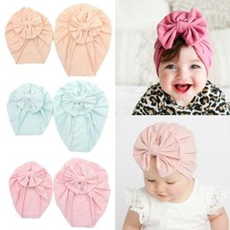 cotton baby girl bonnets NZ - Cotton Beanie Baby Winter Hat Newborn Photography Props Lovely Bows Toddler Hat Elastic Soft Turban Headband Baby Girls Bonnet Zty4#