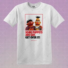 Wholesale puppet love online – design Ernie Sesame Gay T shirt LGBT Love Pride Puppet Tee Bert Cookie Over It Btm Top Cool Casual pride t shirt men Unisex New Fashion