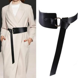 leather obi belts women NZ - New Black Wide Corset Leather Belt Female Tie Obi Waistband Thin Brown Bow Leisure Belts for Women Wedding Dress Waistband Lady