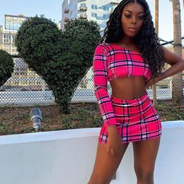Wholesale hot clubbing outfits resale online - Hot Pink Sexy Plaid Print Two Piece Skirt Set Women Crop Top and Skirt Matching Sets Summer Club Outfits Festival Women Outfits T200603