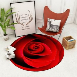 european chairs UK - 3D Rose Round Rug Carpets For Living Room Home Decor Floor Carpet For Children Bedroom Computer Chair Area Rugs Antiskid Mats Zo8h#