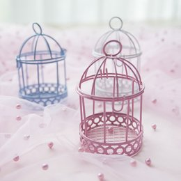 white bird decorations UK - 30pcs White Pink Blue Bird Cage Candy Box Wedding Gift Favors Iron Wedding Decoration Candy Holder Birdcage Boxes 10*6cm