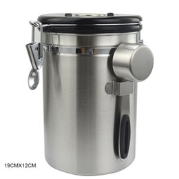 kitchen jars canisters UK - Airtight Canister Stainless Steel Container Coffee Ground Vault Jar with Valve for Kitchen BJStore T200507