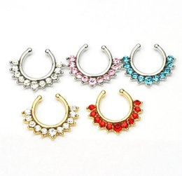 jewelry hangers UK - D0605 ( 5 colors ) Nose Ring nose hook Nose Rings Body Piercing Jewelry Fake Septum Clicker Non Piercing Hanger Clip On Women Body Jewellry
