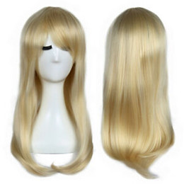 straight blonde synthetic wig Australia - Long Straight Wavy #613 Blonde Synthetic Cosplay Wig Heat Safe Full Hair Wigs