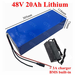 3.7v lipo charger 2021 - Rechargeable 48v 20ah lithium li ion 3.7V lipo battery pack with BMS for 1500w ebike momorcycle scooter power tools+3A c