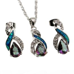 mystic fire topaz pendant UK - 925 Sterling Silver Jewelry Sets Natural Opal Genuine Fire Mystic Topaz 8 Design Pendant Necklace Earring Christmas Gifts OPJS5