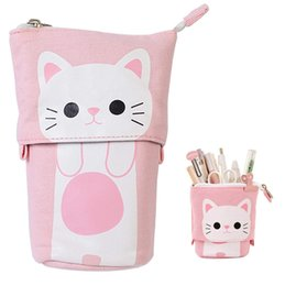 stationery stores Canada - Transformer Stand Store Pencil Holder Canvas PU Cat Telescopic Pencil Pouch Bag Stationery Pen Case Box with Zipper Cartoon Design WJ032