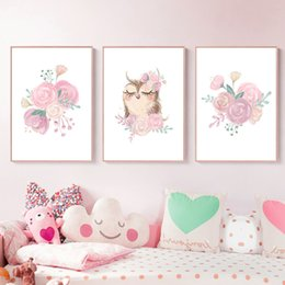 cartoon pink rose NZ - Woodland Animal Print Owl Nursery Canvas Poster Pink Flower Painting Nordic Poster Watercolor Rose Girl Room Picture Wall Decor