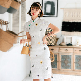 Wholesale qipao lace cheongsam for sale - Group buy Sheng Coco Fashion Lace Qipao Pearl Buckle Cheongsam Young Style Embroidered Butterfly Chipao Women Lace Hollow Daily Slim Dress