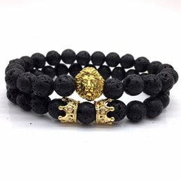 lion charms for bracelets UK - 2pcs set New Fashion Lion Crown Couple Charm With Lava Bead Bracelet Sets For Men Wristband Jewelry Accessories sterling silver jewelry