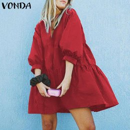 Wholesale women s smock dress for sale – plus size VONDA Women Ruffle Smock Dress Sexy Mini Dresses Fashion Plain Cotton Linen Dress Vintage party Ladies Sundress Sarafans