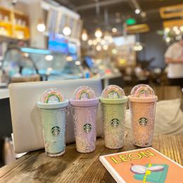 Hediye Ürünleri için Çocuk Yetişkin girlfirend için Payet PET Malzeme ile 450ml Sevimli Gökkuşağı Starbucks Kupası Çift Plastik