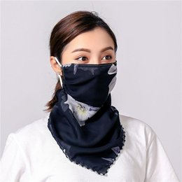 black white floral handkerchief UK - Women Scarf Face Mask 38 Styles Silk Chiffon Handkerchief Outdoor Windproof Half Face Dust-proof Sunshade Masks