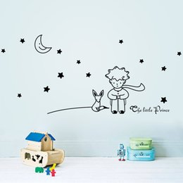 prince birthday toys Canada - Popular Book Fairy Tale The Little Prince With Fox Moon Star Home Decor Wall Sticker For Kids Rooms Baby Child Birthday Gift Toy