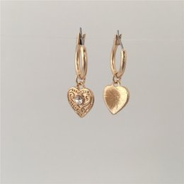 color stone charms Australia - LOVELY GOLD COLOR PLATING TEXTURED HEART WITH CLEAR STONE CHARM HOOP EARRINGS