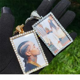 customize necklaces Australia - Customized Photos Necklaces Gold Plated Photo Memory Pendant Necklace Bling Zircon Paved Hip Hop Necklaces with Rope Chain for Men Women