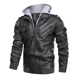 Wholesale multi color leather jacket for sale – winter 2020 New Men s Leather Jackets Casual Motorcycle PU Jacket Biker Vintage Leather Coats Multi Pouch Bomber Jacket