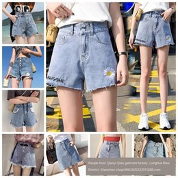 ripping dresses UK - 2020 Summer Korean style ripped denim shorts women's high waist dress Dress hot pants Shorts hot pants