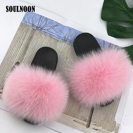 Wholesale Children Fluffy Fur Slippers Kids Real Fur Slides Girls Flat Indoor Home Slippers Child Furry Slides Baby Plush Flip Flops