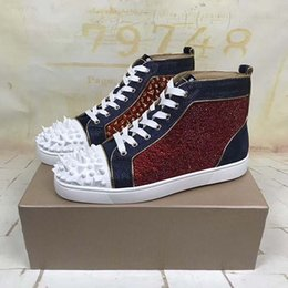 leopard print shoes high tops UK - Casual platform shoes High-end custom metal studded spikes casual shoes red bottoms for men high top sneakers genuine leather lz7