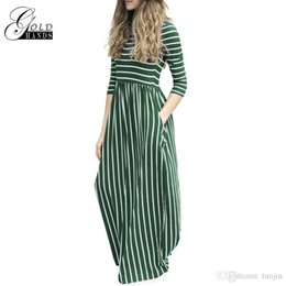 empire line tunic Canada - Women Tunic Maxi Dress 3 4 Sleeve Pocket Striped Office Long Dresses Empire Ladies Autumn Winter Vestidos Female Casual Dress