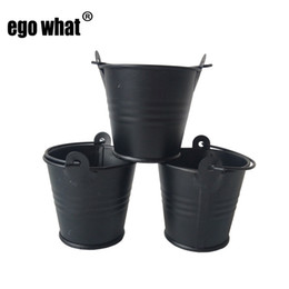 wholesale flower buckets Canada - Free shipping Black Plant Flower Pot D5.8*H5.4CM Metal Favor Pail tin bucket for wedding decoration