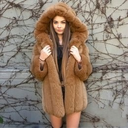 Wholesale long black fox fur collars resale online - Fashion Thick Hooded Winter Coat Women Luxury Faux Fur Coat Plus Size2 XL Women Long Sleeve Faux Fur Jacket fourrure