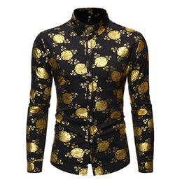 new fancy shirts Australia - Luxury Gold Fancy Flowered Print Dress Shirt Men 2020 Autumn New Slim Fit Long Sleeve Mens Tuxedo Shirts For Club Party Disco