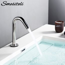 steel induction UK - Smesiteli Bathroom Faucet Silver Induction Water Single Cold Convenient Induction Sensitive Water Kitchen Faucet