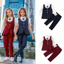 kids blazers UK - 2-7 Years Girls Blazers 3pcs Set Infant Girl Kid Lace Shirt Tops Vest Pants Baby Girls Outfits Autumn Party Formal Girl Suit Set e2Il#