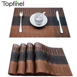table setting placemats Canada - Topfinel Set of 4 PVC Bamboo Plastic Placemats for Dining Table Runner Linens Place Mat in Kitchen Accessories Cup Wine Mat T200708